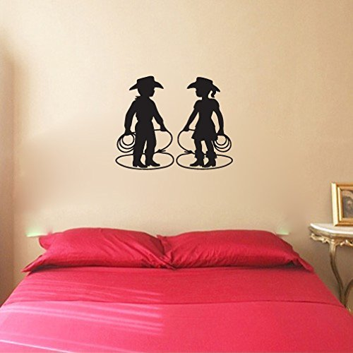 Cowboy and Cowgirl Kids Vinyl Wall Decal Sticker Graphic -