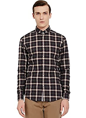 ME&CITY Men's Classic Checkered Print Button Front Long Sleeve Shirt