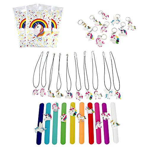 Rainbow Unicorn Party Favors Pack | Colorful Pack of 30 Unicorn Bags | Goodie Bag Pack for Themed Parties | Includes 10 Necklaces, 10 Keychains and 10 -