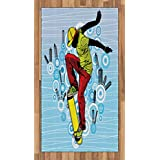 Ambesonne Youth Area Rug, Teenager Playing Skateboard on Street with Abstract City Background Circles Buildings, Flat Woven Accent Rug for Living Room Bedroom Dining Room, 2.6 x 5 FT, Multicolor