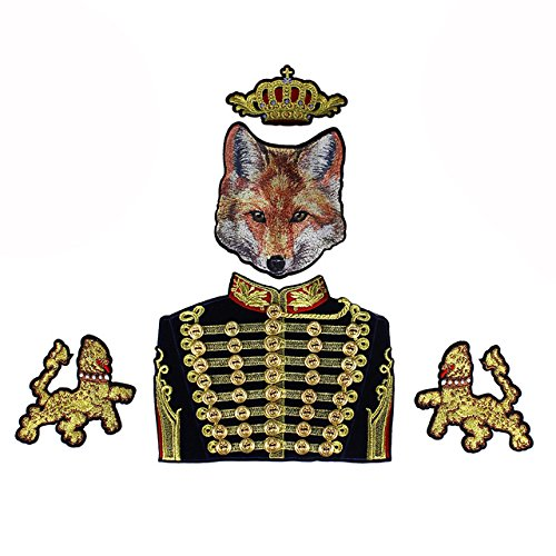 - 1set Beaded Gold Button Royal Crown Duke Fox Lion Fabric Patches Embroidery Gold Metallic Applique Badges Iron on Craft TH688a