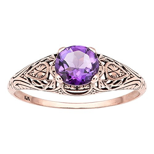 10k Rose Gold Vintage Style Genuine Round Amethyst Scroll Ring - 10k Gold Scroll Ring