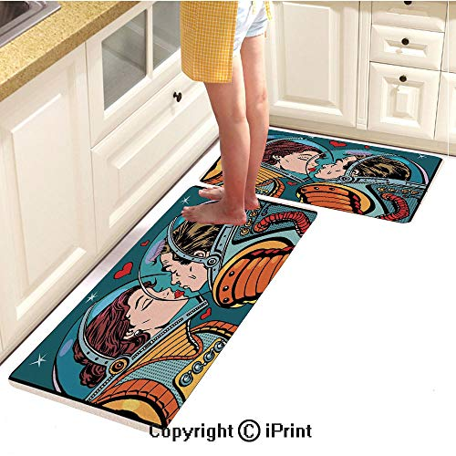 Kitchen Carpet mat 2piece Suit,Space Man and Woman Astronauts Kissing Science Cosmos Fantasy Couple Pop Art Style Artful Print,Water-Absorbent and Oil-Proof Carpet,20