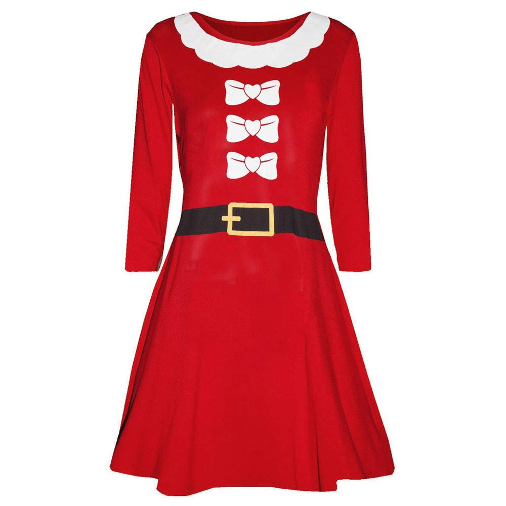 Women Ladies Santa Reindeer Wall Snowflake Print Prom Costume Christmas Xmas Swing Dress UK Plus Size 8-22 Mounter