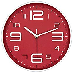 45Min 10-Inch 3D Number Dial Face Modern Wall Clock, Silent Non-Ticking Round Home Decor Wall Clock with Arabic Numerals, 7 Colors(Red)