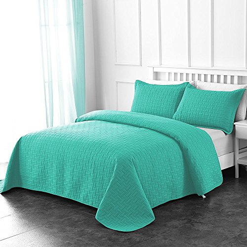 Comfy Basics Prime Bedding Manchester 3-piece Oversized Quilted Bedspread Coverlet Set (Turquoise, Queen)