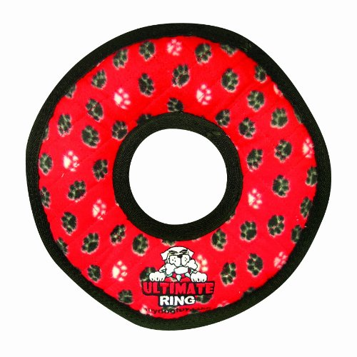 Tuffy's Ultimate Ring Dog Toy, Red Paws, My Pet Supplies