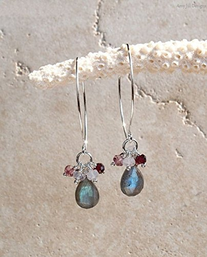 Mystic Earrings Labradorite (Labradorite Earrings, Garnet Moonstone Mystic Pink Cluster Earrings, Sterling Silver, Gemstone Jewelry, Blue Flash Labradorite Jewelry)