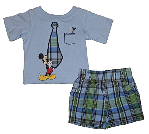 2 Piece Embroidered Tie - Disney Mickey Mouse 2 Piece Embroidered Tie T-Shirt and Shorts Set (Newborn)