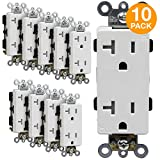 ENERLITES Decorator Receptacle Outlets, Tamper-Resistant Receptacle, Commercial Grade, 20A 125V, Self-Grounding, 2-Pole, 3-Wire, 5-20R, UL Listed, 63200-TR-W-10PCS, White (10 Pack)