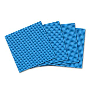 """Click n' Play Blue Building Brick Baseplates - 10"""" x 10"""" - (Pack of 4) Tight Fit-Lego Compatible"""