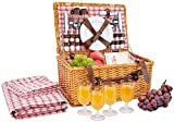 Picnic Basket for 4 Person | Red Picnic Hamper Set | Folding Picnic