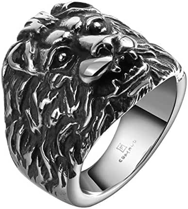 Godyce Lion Head Rings for Men Women Size 8-11 - Titanium Steel Jewelry With Gifts Box