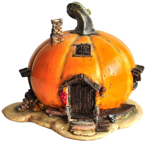 Top Collection Miniature Fairy Garden and Terrarium Orange Pumpkin Fairy House Statue, 4 by 5-Inch]()