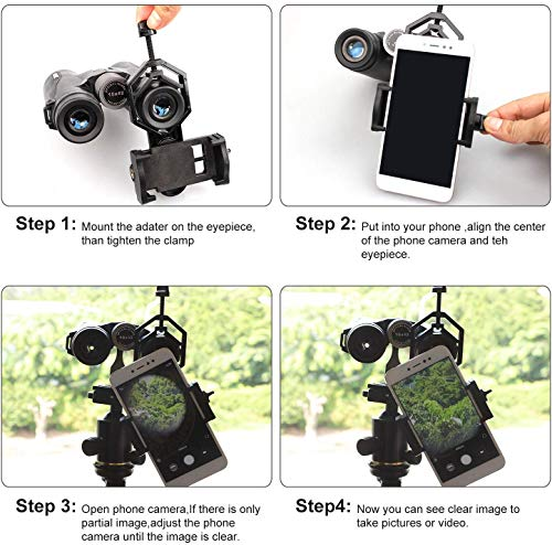 NOCOEX Universal Cell Phone Adapter Mount - Compatible Binocular Monocular Spotting Scope Telescope Microscope - Fits Almost All Smartphone, Record The Beautiful Life