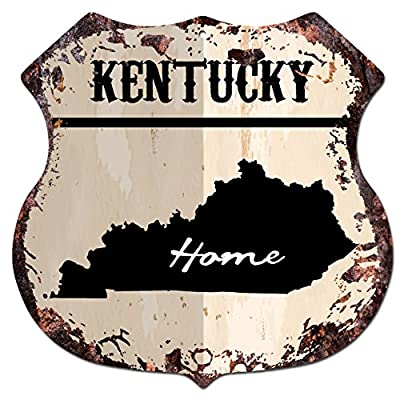 "HOME KENTUCKY Map Chic Sign Vintage Retro Rustic 11.5""x 11.5"" Shield Metal Plate Store Home Room Wall Decor Gift"
