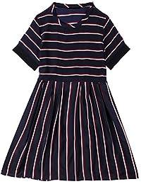 Rainstar Women's Plus Size A-Line Short Sleeve Stripe Chiffon Dress Summer