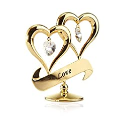 24K Gold Plated Love Inscribed Double Heart Ornament with Crystals by Matashi