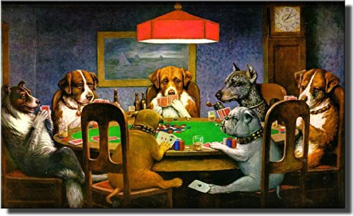Dogs Playing Poker, Ace in the Paw Wall Picture on Stretched Canvas Decor Ready to Hang! (Ace Canvas)