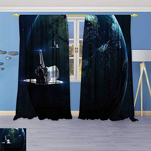 Design Print Thermal Insulated Blackout Curtain Return to Earth Science Fiction World Backdrop Space Craft Travel Image Navy Blue for Living Room -