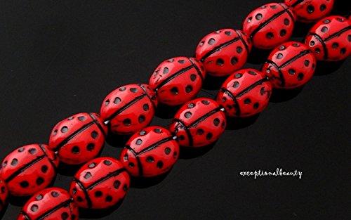Czech Ladybug - 20 Preciosa Czech Glass 10mm Opaque Red Black inlay 2 Sided Ladybug Beads