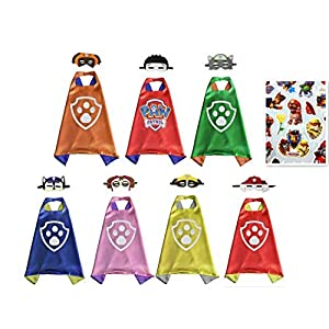 - 516h5kBOf1L - YL Paw Patrol Set of 7 Cape & Mask Cosplay Kids Costume Party