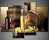 Grape and Wine Canvas Wall Art- Framed Wine Canvas Print Art for Kitchen, Bar, Restaurant Decoration-Nuolanart-P4S001 offers