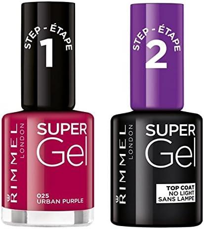 Rimmel Super Gel Esmalte de Uñas Duo Pack, Número 25 Morado Urbano, Rosa Oscura: Amazon.es: Belleza
