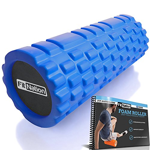 Fit-Nation Foam Roller for Muscle Massage with Exercise Book, Ultra Strong Solid Core Muscle Roller for Deep Pain Relief in Your Aching Legs and Body. Ideal For Runner Cyclist Cross Fit Athlete ()