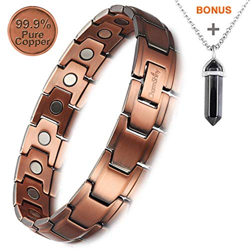 Hypoallergenic Copper Bracelet Magnetic Therapy Health Wristband Jewelry 3500 Gauss Magnets for Women Men Benefits Arthritis Pain Relief (Unisex 1.2cm) Copper Non Magnetic Wristband