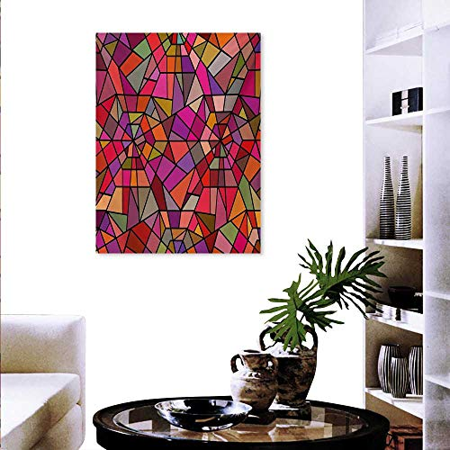 ct Art Stickers Mosaic Style Stained Glass Fractal Colorful Geometric Triangle Forms Artful Image Ready to Hang for Home Decorations Wall Decor 24