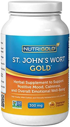 Wort Gold Nutrigold St. John (européenne Pharma Grade) (cliniquement prouvée), 300 mg, 180 légumes. capsules