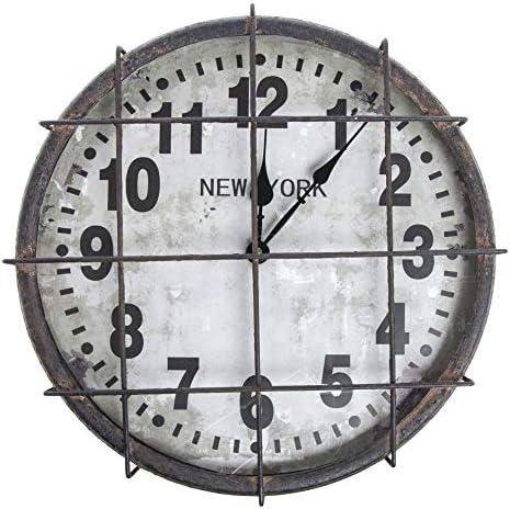 Kalalou Black and White Metal New York Clock