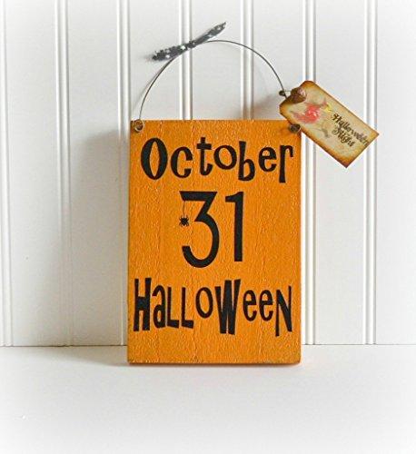 [Wooden Halloween Sign Decor,Hanging Wall halloween Sign, Free Shipping] (Halloween Free Shipping)