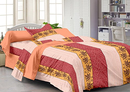 Story@Home Fantasy Contemporary 100 % Cotton Single Bedsheet with 1 Pillow Cover, Peach
