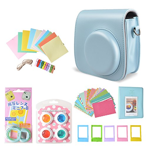 Instax Mini 9 Case Accessories 7 in 1 Instant Camera Bag Bundle, Photo Album, Photo Case, Close-Up Selfie Len, Wall Hanging Frame, Photo Frame, Sticker Border for Fujifilm Mini 8/ - Frames Photo Instant