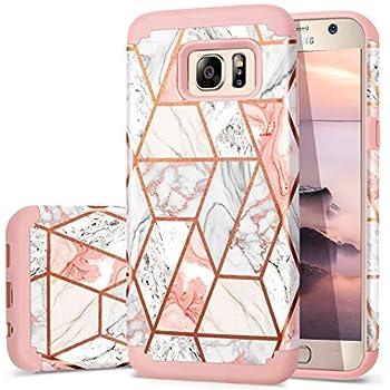 de3461b37 Galaxy S7 Case, Fingic Samsung S7 Case Marble Design Shiny Glitter Bumper  Hybrid Hard PC Soft Rubber Anti-Scratch Shockproof Protective Case Cover for  ...