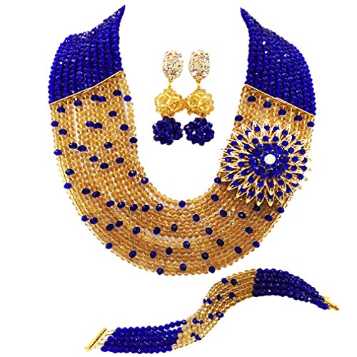 10 Layers Multi Strands Statement Necklace Nigerian Wedding African Beads Jewelry Set Crystal Beaded Bridal Party Jewelry Sets for Women Girls (Royal Blue Champagne Gold)