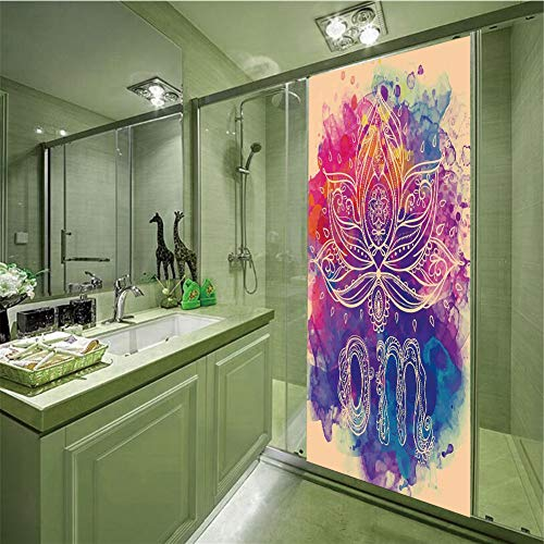 Decorative Privacy Glass Film,Chakra Decor,Psychedelic Oriental Lettering and Lillies with Surreal Hallucinatory Background,Multi,35.43