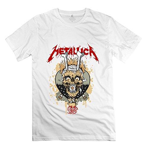 TGRJ Men's Tee - Cool Metallica Skull Album White Size L