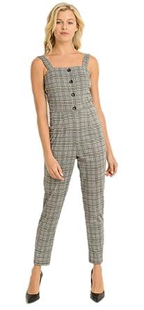 1856d9b0507e Amazon.com  Gilli Gray Plaid Jumpsuit  Clothing