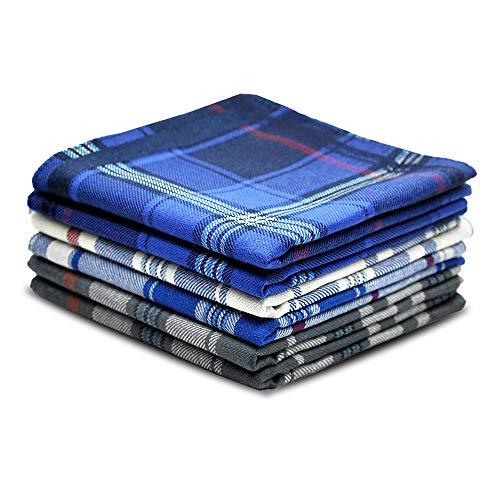 (Pure Cotton Men's Soft Handkerchiefs Assorted Color Pack of 6 Gift Set by Zenssia)
