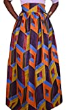 Pivaconis Womens Stylish Africa Dashiki Print Swing Pleated Long Skirts Orange XX-Large