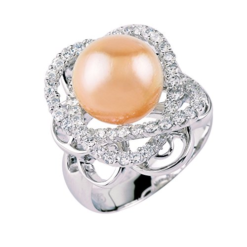 D'SIRE D'LIGHTFUL. D'AMOND. D'SIGNS. 18k White Gold Diamond Cultured Golden South Sea Pearl Ring TDW 1.135 cts