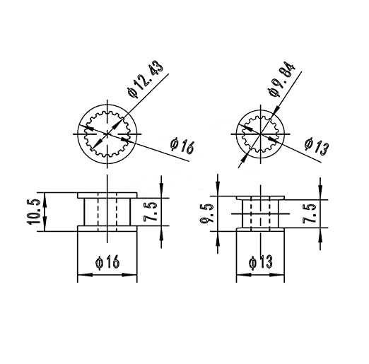 jenor 2 GT H de Tipo Polea Temporal de Ruedas 16/20 Dientes pasivo Cilindro de automatismo Correa Correa de Ancho 6 mm 1: Amazon.es: Informática