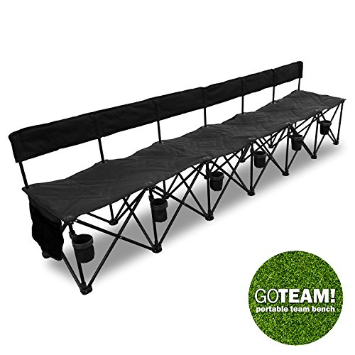 (GoTeam! Pro 6 Seat Portable Folding Team Bench - Black)