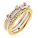 Set Of 3 White, Yellow And Rose Sterling Silver Diamond Accent Stackable Ring (1/10 cttw, I-J Color, I1-I2 Clarity), Size 8