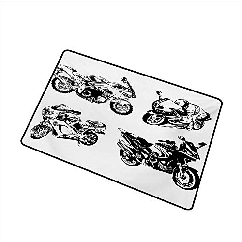 Becky W Carr Motorcycle Welcome Door mat Cartoon Motorbike Speed Race Exciting Sport Hobby Lifestyle on The Roads Print Door mat is odorless and Durable W23.6 x L35.4 Inch,Orange Black -