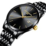Yelovemei Waterproof Watch Quartz Wristwatch Business Dress Men's Stainless Steel Watch (Black)