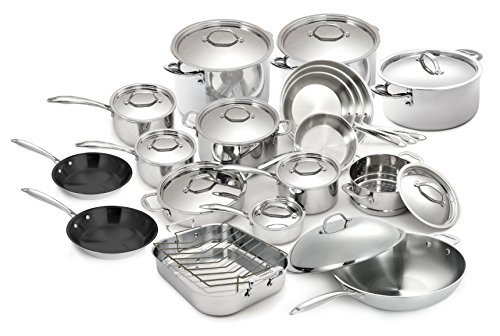 Cuisinox 30 Piece 18/10 Stainless Steel Super Elite Cookware Set Tri-Ply Bonded Dishwasher Safe